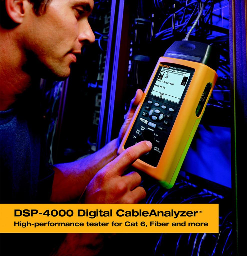 Certificare Cat 5, Cat5e, Cat6 a cablarilor structurate pe cupru folosind Fluke DSP 4000 Cable analyzer DSP 4000 Testeaza, certifica si documenteaza retele de cupru